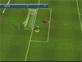 In game image of FIFA 2001 on the Sony Playstation.