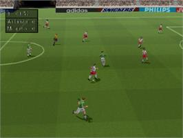 In game image of FIFA 98: Road to World Cup on the Sony Playstation.