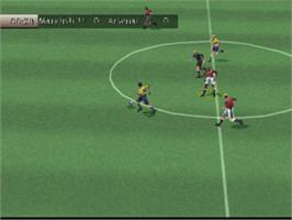 In game image of FIFA 99 on the Sony Playstation.