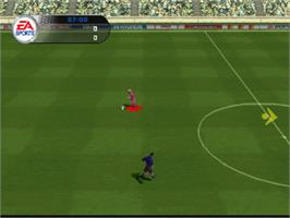 In game image of FIFA Soccer 2002 on the Sony Playstation.