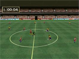 In game image of FIFA Soccer 96 on the Sony Playstation.