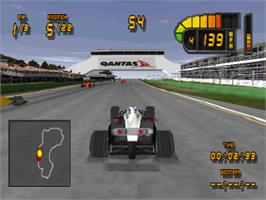 In game image of Formula 1 '98 on the Sony Playstation.
