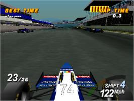 In game image of Formula 1 on the Sony Playstation.