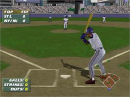 In game image of Frank Thomas Big Hurt Baseball on the Sony Playstation.