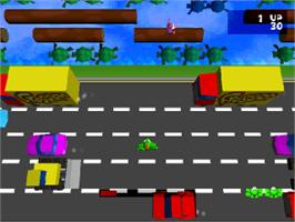 In game image of Frogger on the Sony Playstation.