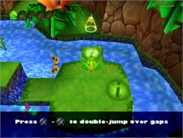 In game image of Frogger 2: Swampy's Revenge on the Sony Playstation.
