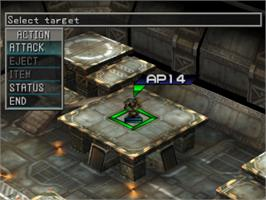 In game image of Front Mission 3 on the Sony Playstation.