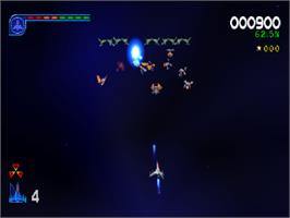 In game image of Galaga: Destination Earth on the Sony Playstation.