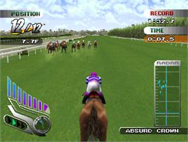 In game image of Gallop Racer on the Sony Playstation.