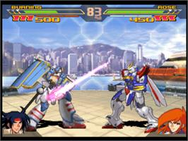In game image of Gundam Battle Assault 2 on the Sony Playstation.