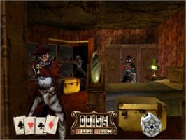 In game image of Gunfighter: The Legend of Jesse James on the Sony Playstation.