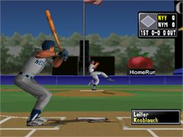 In game image of High Heat Major League Baseball 2002 on the Sony Playstation.