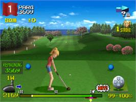 In game image of Hot Shots Golf 2 on the Sony Playstation.
