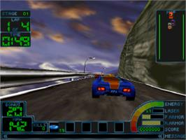 In game image of Impact Racing on the Sony Playstation.