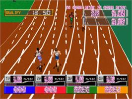 In game image of International Track & Field on the Sony Playstation.