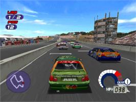 In game image of Jarrett and Labonte Stock Car Racing on the Sony Playstation.