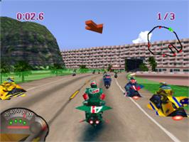In game image of Jet Moto on the Sony Playstation.