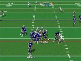 In game image of Jimmy Johnson's VR Football '98 on the Sony Playstation.
