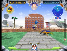 In game image of Jumping Flash! on the Sony Playstation.