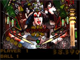 In game image of Kiss Pinball on the Sony Playstation.
