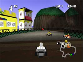 In game image of LEGO Racers on the Sony Playstation.