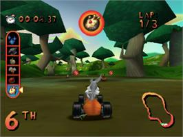 In game image of Looney Tunes Racing on the Sony Playstation.