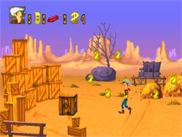 In game image of Lucky Luke: On the Dalton's Trail on the Sony Playstation.