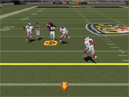 In game image of Madden NFL 2002 on the Sony Playstation.
