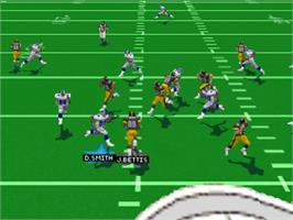 In game image of Madden NFL 97 on the Sony Playstation.
