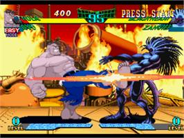 In game image of Marvel Super Heroes Vs. Street Fighter on the Sony Playstation.