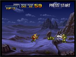 In game image of Metal Slug X: Super Vehicle - 001 on the Sony Playstation.