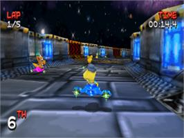 In game image of Miracle Space Race on the Sony Playstation.