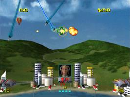 In game image of Missile Command on the Sony Playstation.