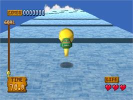In game image of Monster Rancher Hop-A-Bout on the Sony Playstation.
