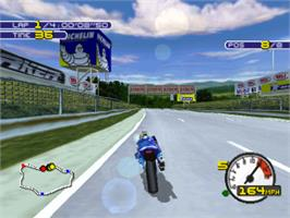 In game image of Moto Racer 2 on the Sony Playstation.