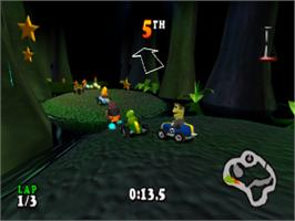 In game image of Muppet RaceMania on the Sony Playstation.