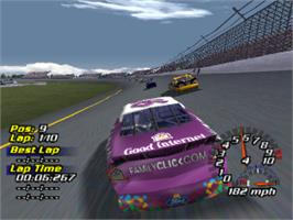 In game image of NASCAR 2001 on the Sony Playstation.
