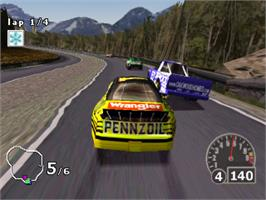 In game image of NASCAR Rumble on the Sony Playstation.