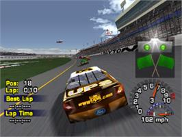 In game image of NASCAR Thunder 2003 on the Sony Playstation.