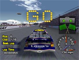 In game image of NASCAR Thunder 2004 on the Sony Playstation.