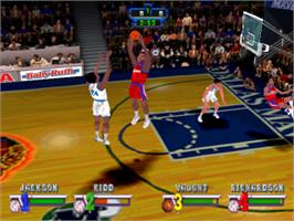 In game image of NBA Jam Extreme on the Sony Playstation.