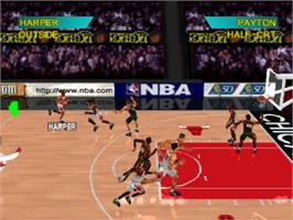 In game image of NBA Shootout '97 on the Sony Playstation.