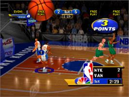 In game image of NBA Showtime: NBA on NBC on the Sony Playstation.