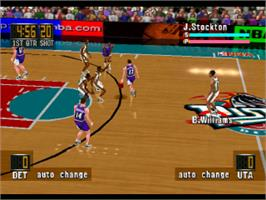 In game image of NBA in the Zone '98 on the Sony Playstation.
