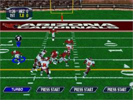In game image of NFL Blitz 2001 on the Sony Playstation.