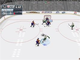 In game image of NHL 2001 on the Sony Playstation.