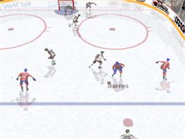 In game image of NHL FaceOff '97 on the Sony Playstation.