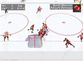 In game image of NHL FaceOff on the Sony Playstation.