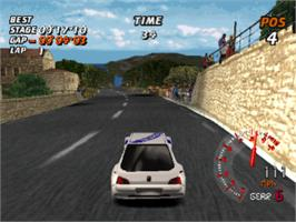 In game image of Need for Speed: V-Rally on the Sony Playstation.
