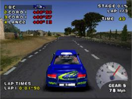 In game image of Need for Speed: V-Rally 2 on the Sony Playstation.